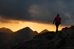walking on the ridge (.:: Maya ::.) Tags: sunset woman mountain clouds walking rocks peak ridge bulgaria human  pirin       mayaeye mayakarkalicheva  wwwmayaeyecom