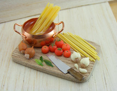 Spaghetti, Tonight. (Shay Aaron) Tags: wood italy food kitchen dinner tomato lunch cuisine miniature italian dish handmade sauce board knife dry mini vegetable pasta pot polymerclay fimo tiny garlic onion veggies spaghetti veg 12th 112 preparation dollhouse petit shallot basilleaf oneinchscale shayaaron