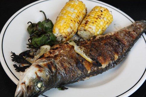 Grilled Branzino, Corn, and Padron Peppers