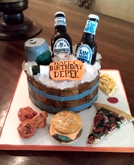 Beer themed birthday cake (Grace of Cakes) Tags: birthday chicken ice beer cake rock wooden bucket wings buffalo ketchup bottles burger sugar pizza cheeseburger fries surprise cans fondant cerealtreats