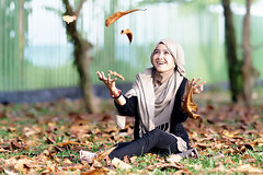 #850C2329- Fall on me please! (crimsonbelt) Tags: portrait fall beach leaves hijab balikpapan lestari kemala sal135f18za