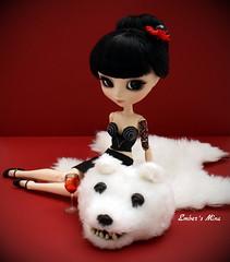 Mina & the bear rug (pure_embers) Tags: bear uk tattoo vintage dark doll dolls eyelashes gothic mina modified rug pullip chill pinup embers bustier obitsu ddalgi