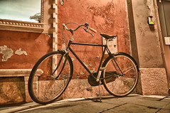 Old bicycle (Alja Vidmar | ADesign Studio) Tags: street old city texture bicycle night piran slovenija hdr