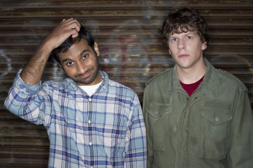 "Aziz Ansari and Jesse Eisenberg in Columbia Pictures' ""30 Minutes or Less."""