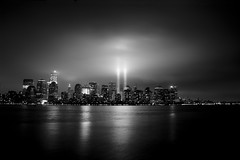 A Day of Remembrance (Moniza*) Tags: world city nyc light usa ny newyork night america port liberty newjersey nikon memorial jerseycity downtown cityscape searchthebest god manhattan nine 911 nj 9 center 11 explore hudsonriver wtc gothamist tribute september11 trade eleven bless liberte tributeinlight libertystatepark gothamcity thebigapple d90 freedomtower explored moniza photographerschoice~halloffame