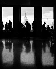 New York Noir #2: Triptych (RBudhu) Tags: newyorkcity shadow reflection silhouette noir watching empirestatebuilding gothamist topoftherock