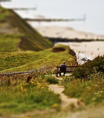 'Toy Town' Series... Seaside (MFotography*) Tags: man beach grass digital canon bench eos coast path hills figure ef28135mm shrubs sherringham tiltshift 500d
