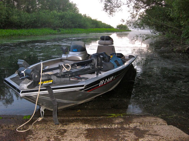 bass fishing in a bass tracker
