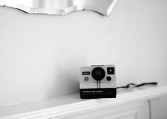 land camera (Suzi Marshall) Tags: summer bw polaroid 50mm bath mantelpiece landcamera vintagemirror 2652 apartmentwestayedin