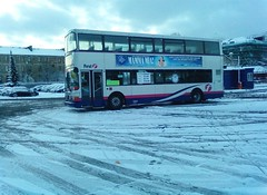 normal service provided (Michelle O'Connell Photography) Tags: snow cold bus victoriaroad firstbus firstglasgow winter2010 glasgowbus larkfielddepot larfield butterbigginsroad