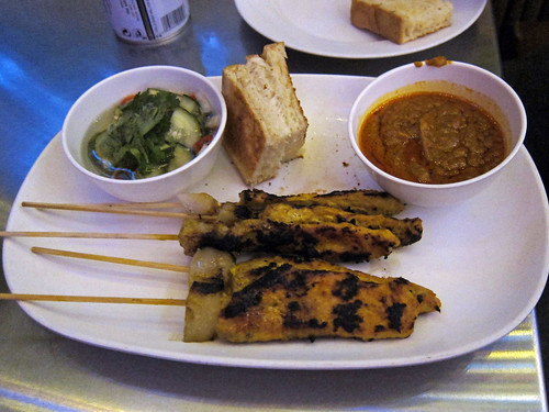 muu sateh (pork skewers)