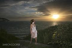 The Needles (sosij) Tags: sunset selfportrait beach wind isleofwight barefoot iow theneedles alumbay speedlite freshwaterbay vintagesilkslip sharoncooperphotography