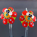 Earring Pair : Bee Orange Flower Blossom