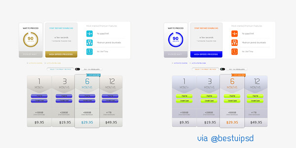 Subtle Pricing Table UI PSD Free Webdesign Element