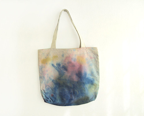 blue, pink and yellow texture tote