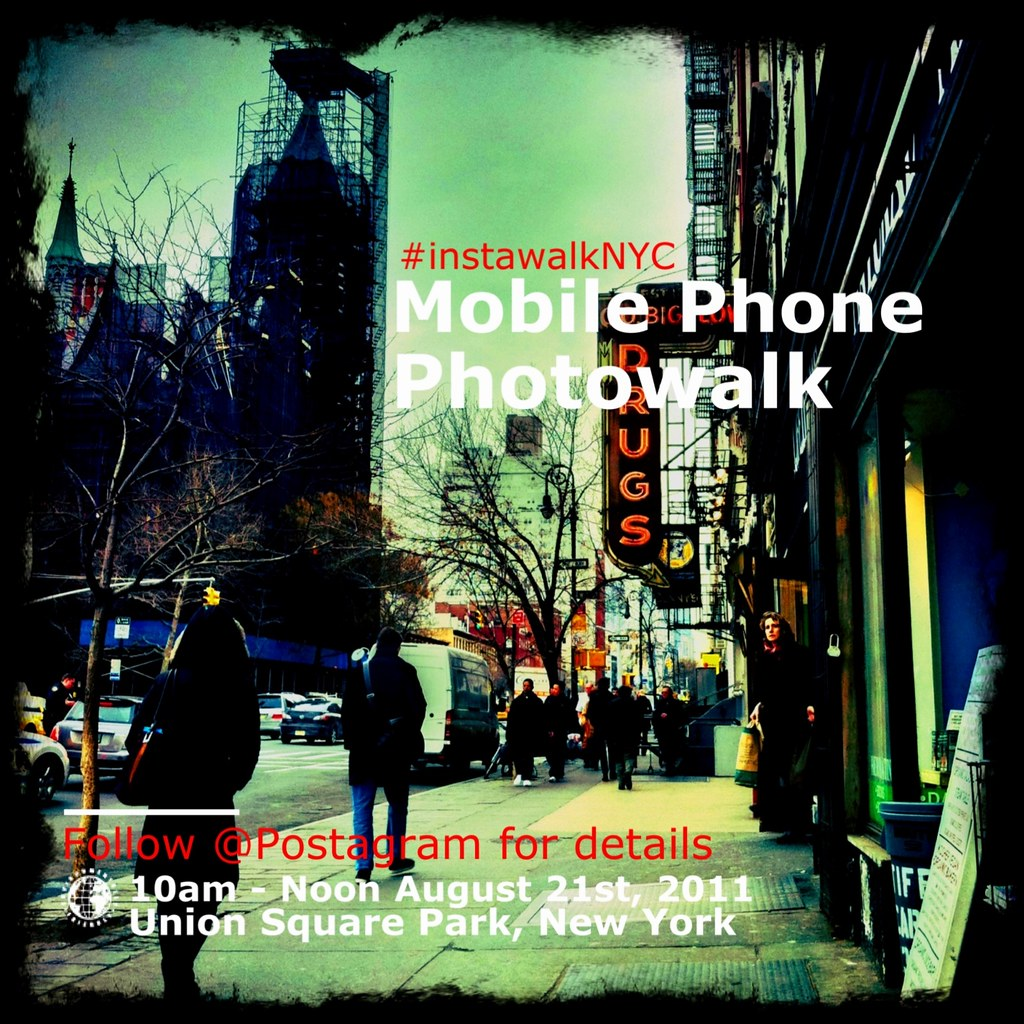 I'll be in NYC this weekend! Hope to meet new folks at our Instawalk. Here's the info (via @Postagram's feed):      Attention New Yorkers, we are organizing a mobile phone photo walk in Union Square Park and would love to see you there! We'll be meeting a