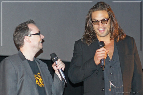 Empire BIG SCREEN : European Premiere of Conan The Barbarian - Empire Magazine's Master of Ceremonies Chris Hewitt and Jason Momoa (Conan) introduce the UK Premiere of Marcus Nispel's Conan The Barbarian by Craig Grobler