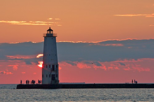 Frankfort lighthouse sunset