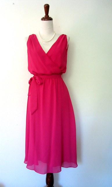 Raspberry Chiffon Cocktail Dress, vintage 80s