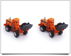 Toys on 3D Stereograph (AnNamir™ c[_]) Tags: canon toys 50mm 3d f18 stereograph stereography 580ex strobe whiteroom payung 500d buldozer whitestudio sifoocom annamir stereoscophic 3dstereography 3dtoys