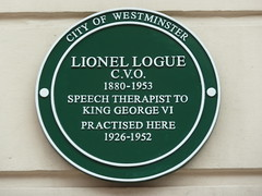 Photo of Lionel Logue green plaque