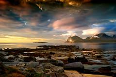 Moods (steinliland) Tags: sunset sea mountain sand rocks day cloudy shore lofoten flakstad lofotenisland steinliland mindigtopponalwaysontop
