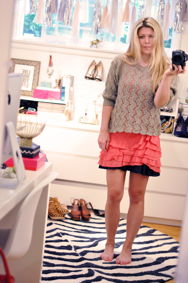 cut off sweater over ruffle dress _  in my office