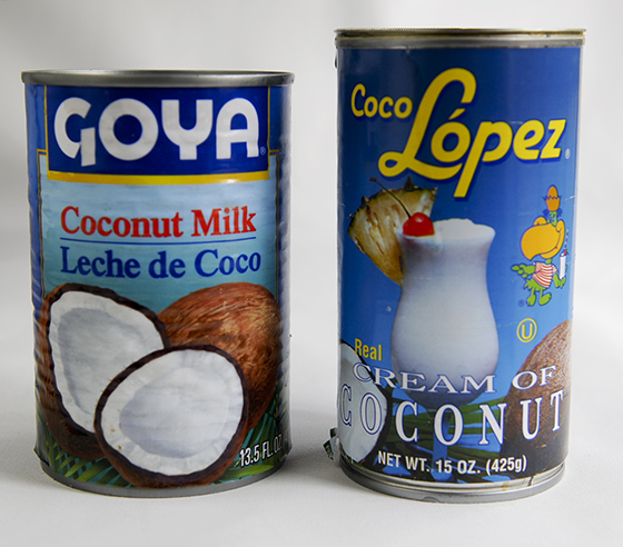 coconut cream and milk