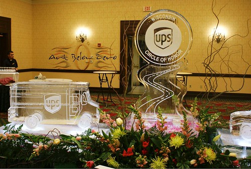 UPS Truck 3D and Logo ice sculpture