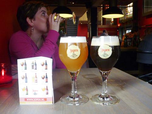 enjoying beers at Jopin Brewery