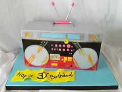 1980s Boombox Birthday Cake (Cake is Life ~ Emily) Tags: birthday pink blue black cake grey boombox fondant