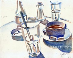 French Cafe Glassware.. 8.29.11 (Paris Breakfast) Tags: coffeecup watercolors glass cafe