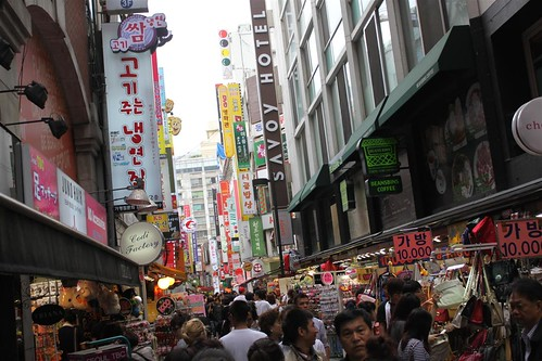 Crowded people at Myeongdong, Seoul South Korea