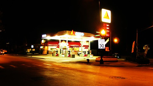 A local Citgo convenience gasoline station at night.  Chicago Illinois USA. August 2011. by Eddie from Chicago