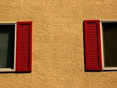 Half & Half (Marcia Portess-Thanks for a million+ views.) Tags: windows red texture buildings edificios explore ventanas shutters halfhalf flickrduel marciaportess
