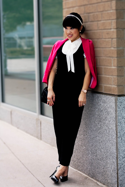 zara hot pink blazer, express pleated trouser pants, aldo black patent pumps, chanel classic lambskin m/l flap purse, sproos pearls of wisdom headband, forever 21 pearl connector ring, mk5430