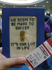 Waiting in line for Anthony Daniels (Sabronx) Tags: starwars crossstitch embroidery c3po anthonydaniels fanexpo fanexpocanada