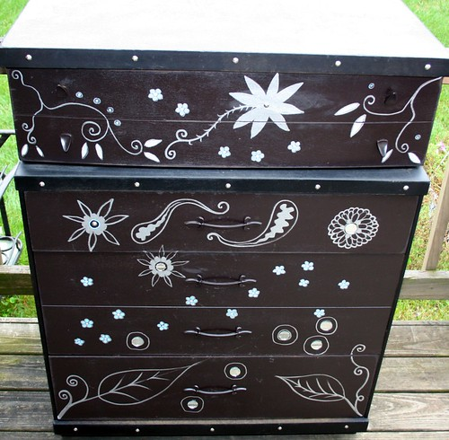 Black/Walnut Brown Floral Dresser by Rick Cheadle Art and Designs