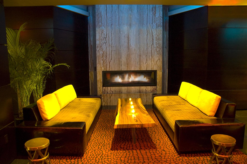 Luxury Boutique Hotel Sanctuary Fireplace in Times Square New York