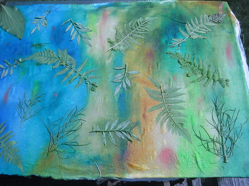 leaves on the painted fabric for sunprinting