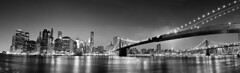 NYC Pano B&W (Josh Bozarth Photography) Tags: new york city nyc bridge sunset bw panorama white black brooklyn canon landscape photography bay coast cityscape village dusk pano guard bm 7d hudson financial seaport disctrict silversldr