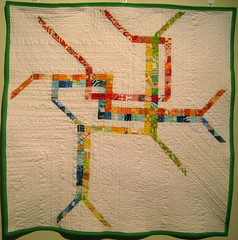 dc metro quilt (dana and thread) Tags: washingtondc dc quilt blueline quilting quilted patchwork redline greenline dcmetro wmata orangeline yellowline scrappy metromap subwaysystem nothingbutscraps