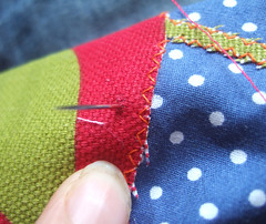 sewing on the squeeker pouch