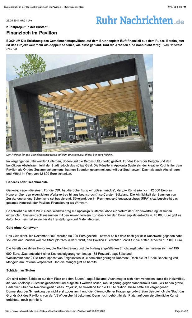 """Preview of """"Kunstprojekt in der Hustadt- Finanzloch im Pavillon -  Ruhr Nachrichten"""" copy"""