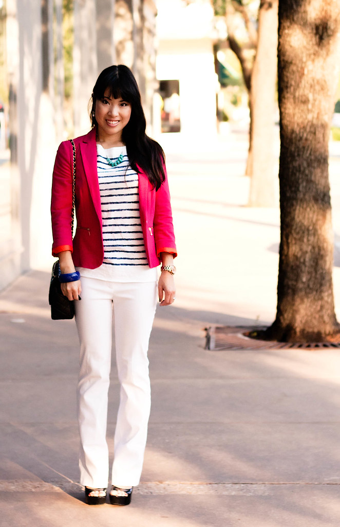 loft striped shirt, bui-yah-kah white pants, chanel classic m/l flap purse, mk5430, zara hot pink blazer, eshakti turquoise stones necklace, jessica simpson astor black patent pumps