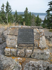 Monument to Albert Stoll, Scoville Point, Rock Harbor, Isle Royale National Park, Michigan (Corvair Owner) Tags: park rock point harbor hiking michigan royal august hike trail national isle royale stoll isleroyalenationalpark scoville 2011