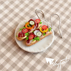 Baguette Sandwich Earrings (weggart) Tags: tomato bread pepper cucumber baguette onion letuce polymerclayminiminifoodweggartfimominiature