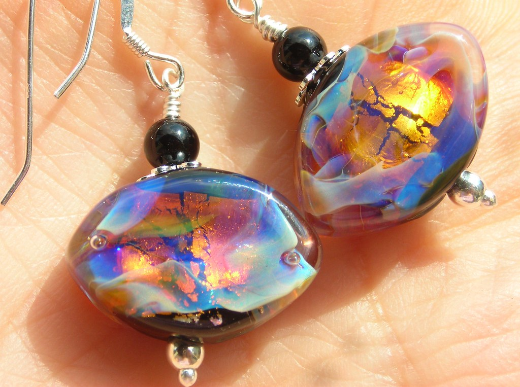 Black opal earrings glass silver earrings handmade artist lampwork beads diamond topaz amber misty creamy blue sterling silver earrings
