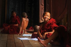 Novice monks (t3mujin) Tags: buddhist monk novice monastery red wood school classroom plank notebook stare child boy window happy calm 85mmf18daf d90 nikkor prime myanmar burma inle people fav10