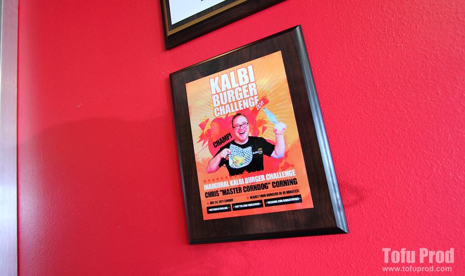 Kalbi Burger Challenge 2011 Plaque Hanging